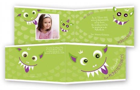 Kindergeburtstag Einladungskarten · Monsterparty