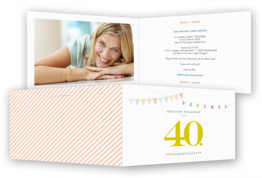 Einladungskarten Geburtstag 40 Einladungskarten 40: 40. Geburtstag Einladungskarte