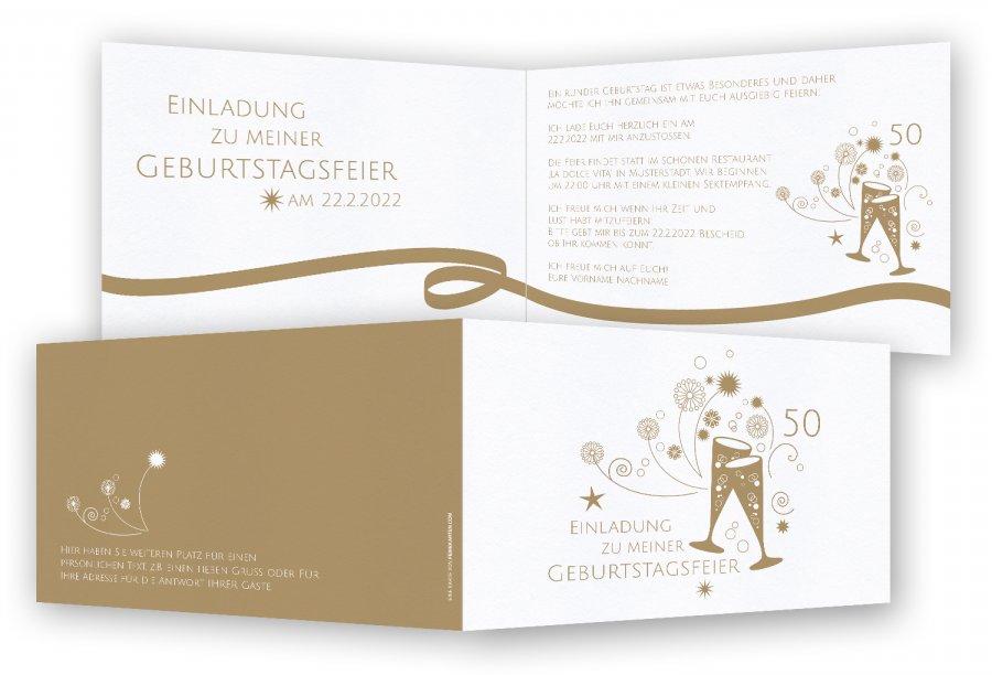 einladung 50. geburtstag, einladungskarten | feinekarten, Einladung