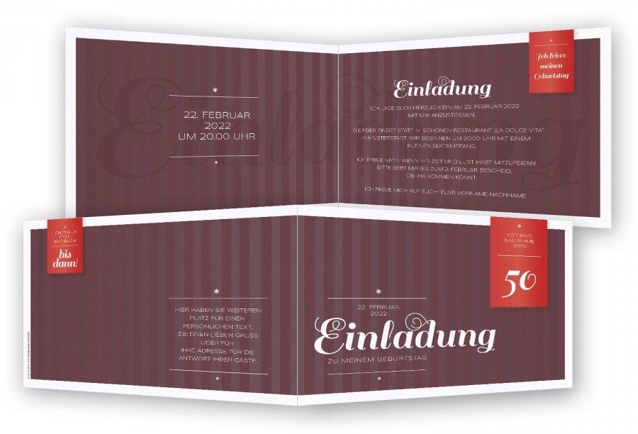 einladungskarten 50 geburtstag | feinekarten, Einladung