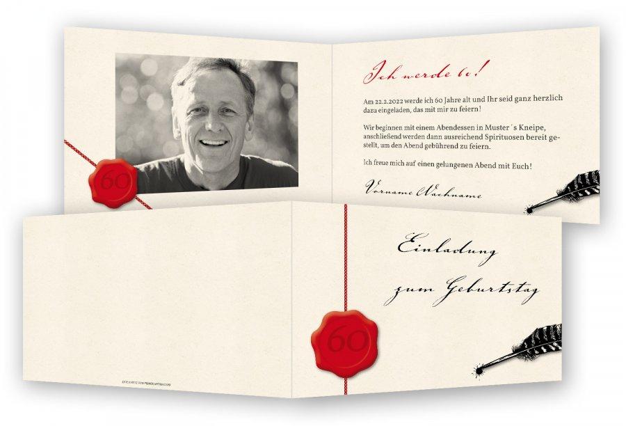Einladungen für 60. Geburtstag | Feinekarten.com
