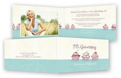Einladungskarten 70. Geburtstag · Cupcakes