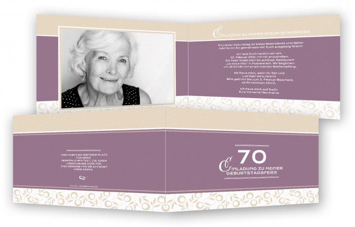 Einladungskarte 70. Geburtstag Vorlage