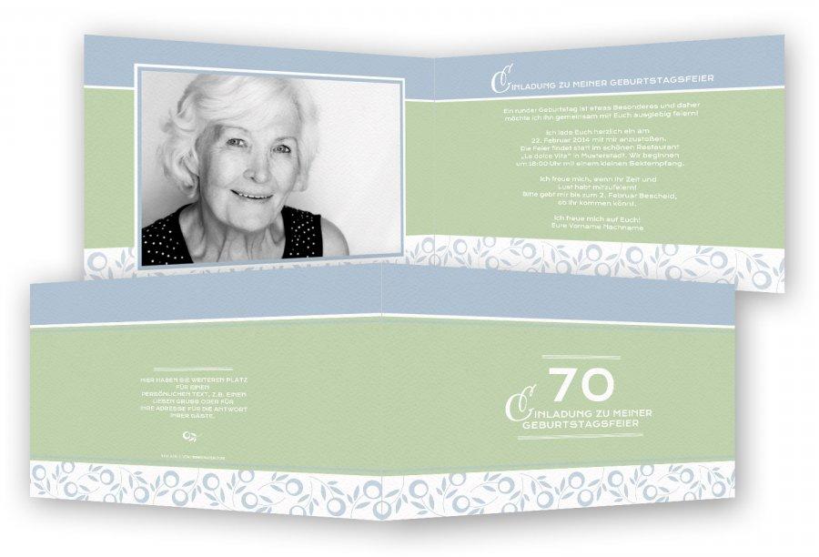 einladung zum 70. geburtstag, einladungskarten | feinekarten, Einladungsentwurf
