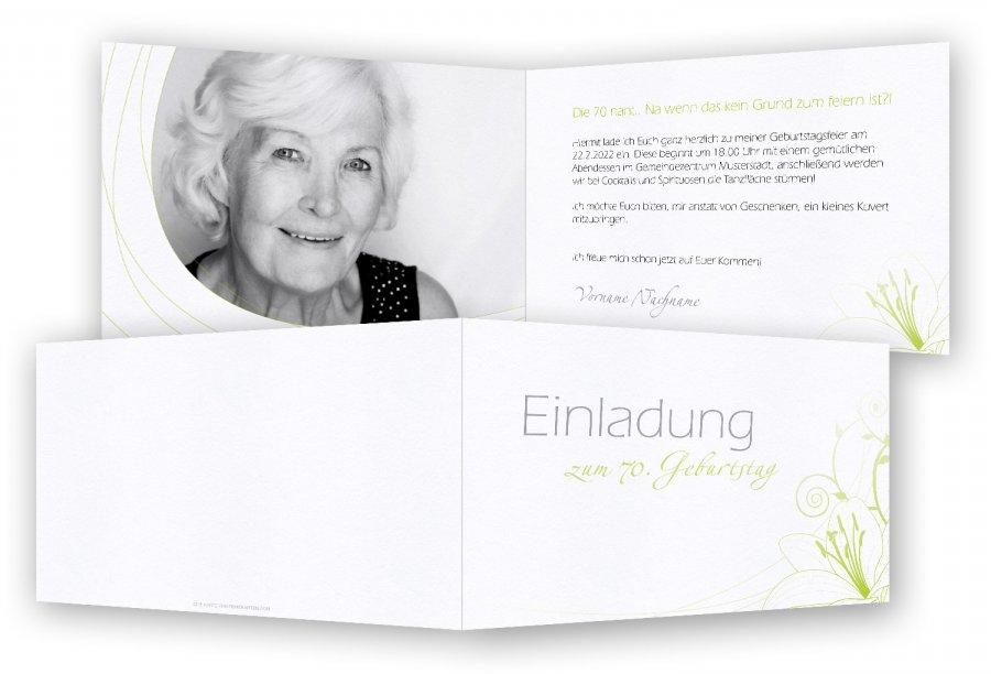 Einladungskarten 70. Geburtstag Vorlage | Feinekarten.com