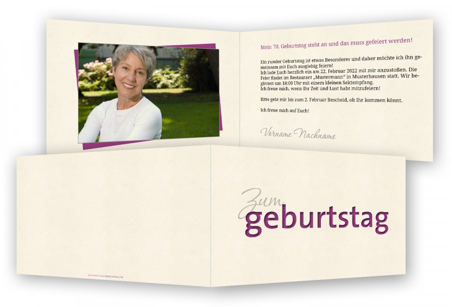 Vorlage Einladung 70. Geburtstag | Feinekarten.com