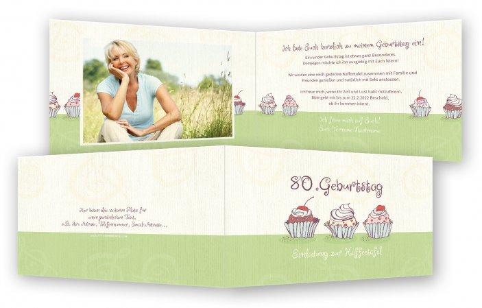 Einladung 65. Geburtstag, Fotokarte, Einladungskarten, Grün, Einladung