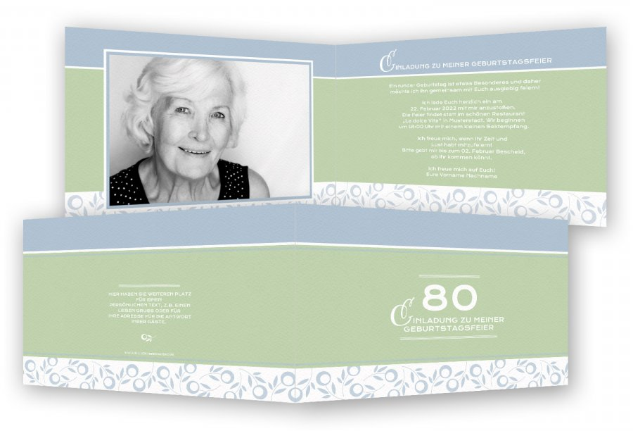 80. Geburtstag Einladung | Feinekarten.com