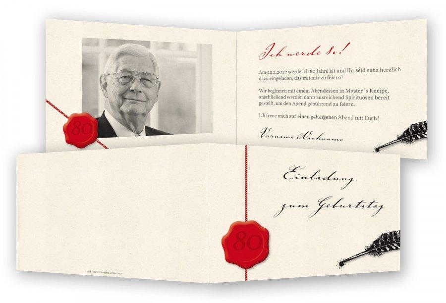 einladung 80. geburtstag vorlage | feinekarten, Einladungsentwurf