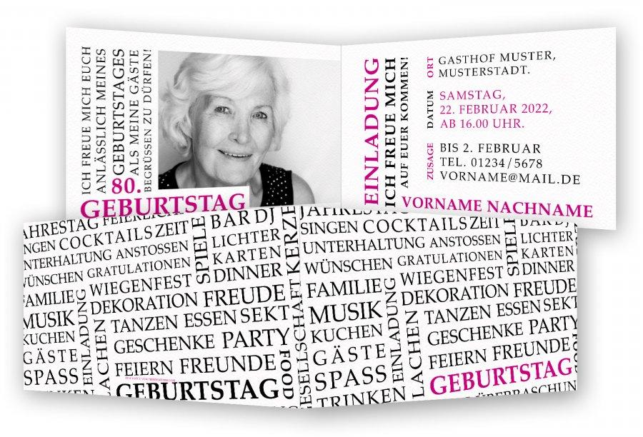 Einladungskarte 80. Geburtstag Vorlage | Feinekarten.com