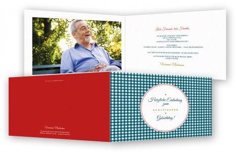 Geburtstag Einladungskarte · Karo Version 1