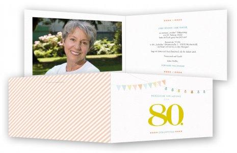 einladung zum 80. geburtstag, einladungskarten | feinekarten, Einladung