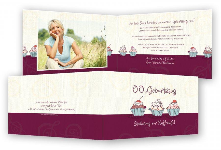 Einladungskarte Geburtstag Cupcakes