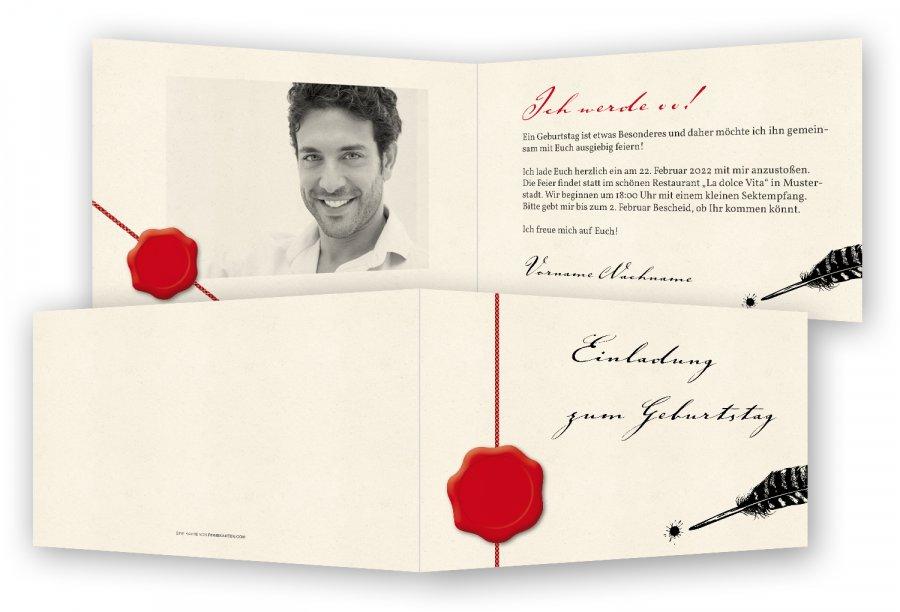 einladungen geburtstag vorlage | feinekarten, Einladung
