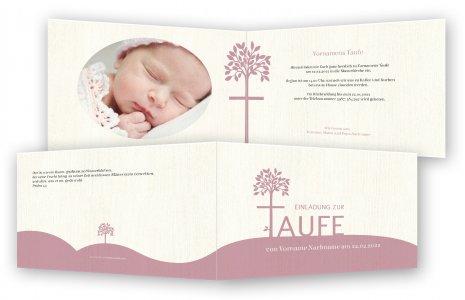Taufe Einladungen. Baum Als Kreuz
