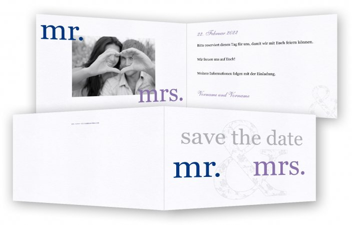 Hochzeit Save-the-date-Karten, mr. & mrs.