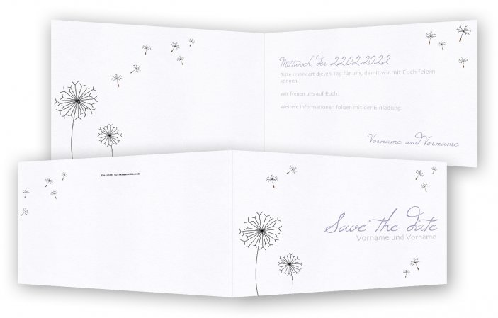 Vorlagen Save-the-date-Karte, Pusteblume