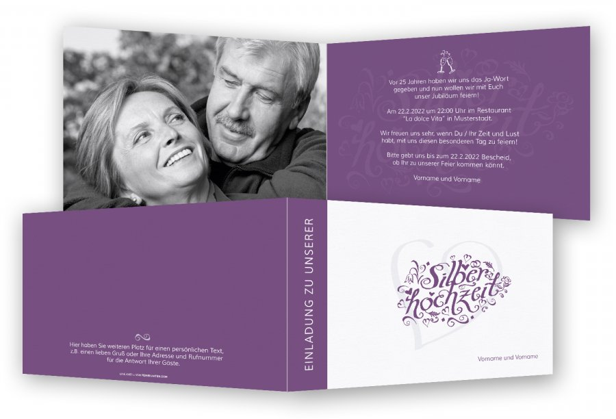 silberhochzeit einladungskarten kostenlos – ledeclairage, Einladungsentwurf