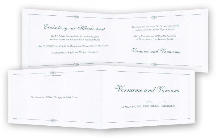 Silberhochzeit Einladungskarte Vorlage  Feinekarten.com