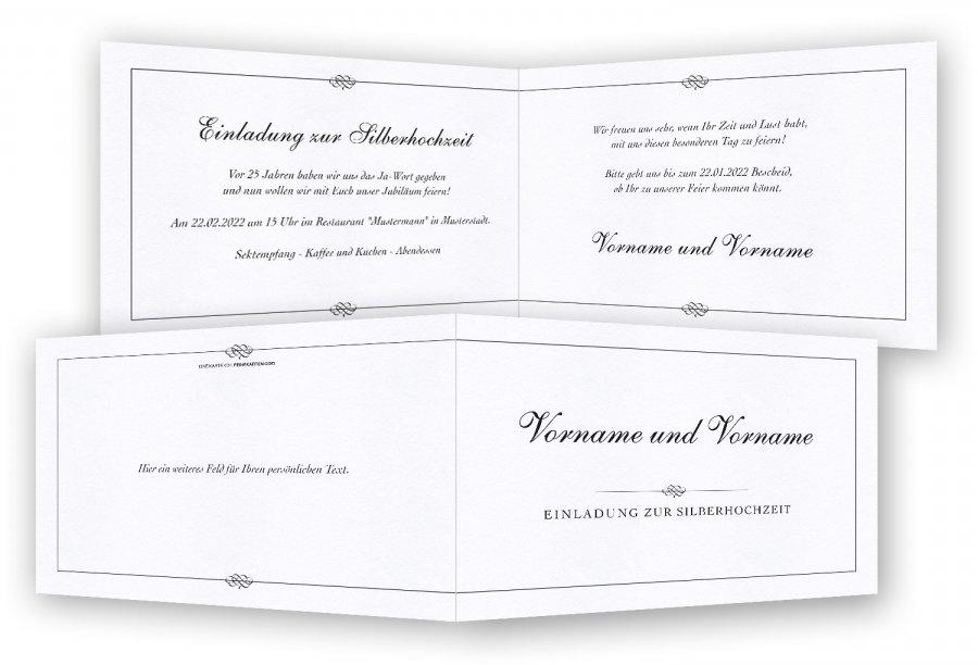 silberhochzeit einladungskarte vorlage. Black Bedroom Furniture Sets. Home Design Ideas