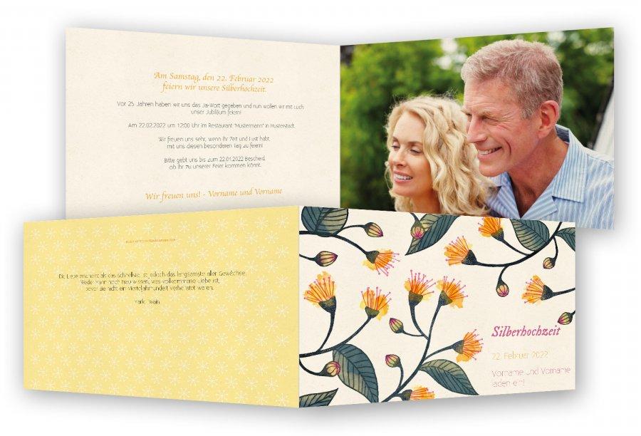 vorlage einladung silberhochzeit | feinekarten, Einladung