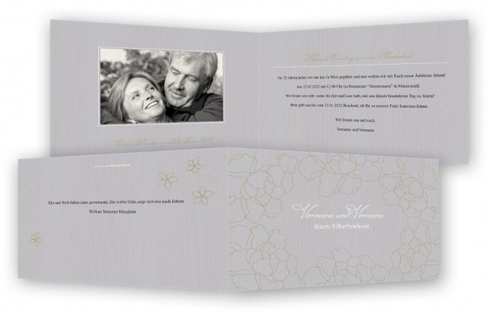 Vorlage Einladungskarten Silberhochzeit