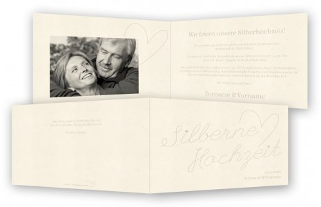Vorlage Einladungskarte Silberne Hochzeit