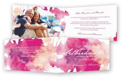 Silberne Hochzeit Einladungskarten Vorlage · Aquarell Kleckse