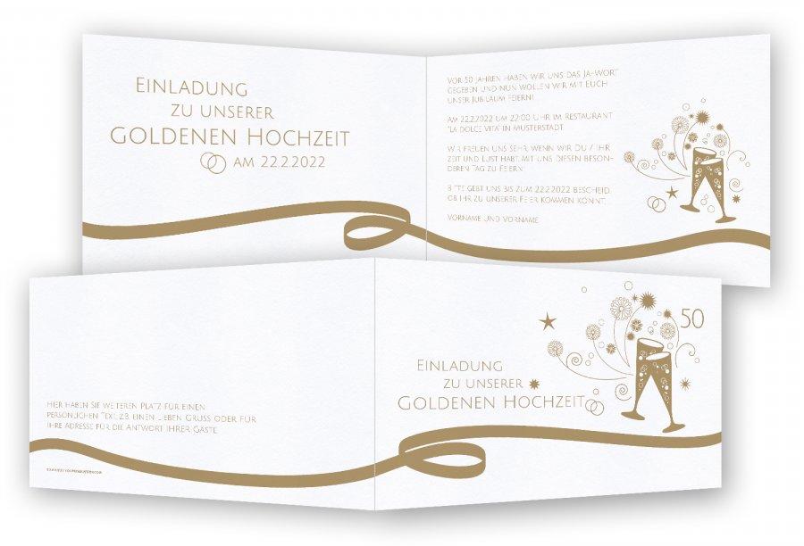 einladungskarten goldene hochzeit | feinekarten, Einladungsentwurf