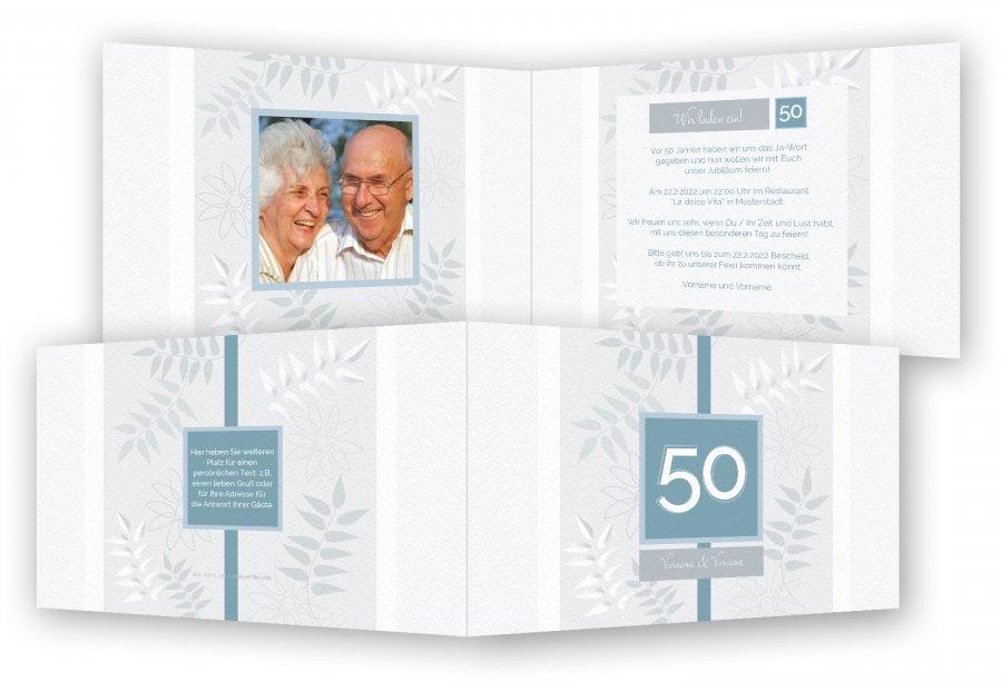 Goldene Hochzeit Einladung | Feinekarten.com