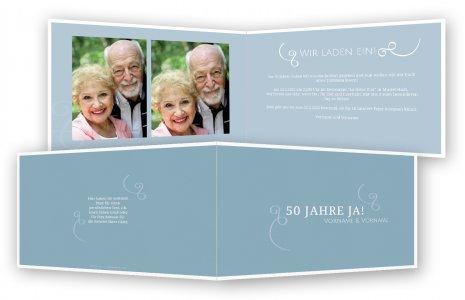 Einladungskarten Goldene Hochzeit · Geschnörkel Mit Bild