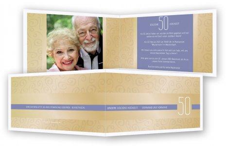 Einladungskarte Goldene Hochzeit Vorlage · Gold Gemustert