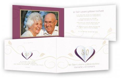 Einladungen Goldene Hochzeit · Falt Herz