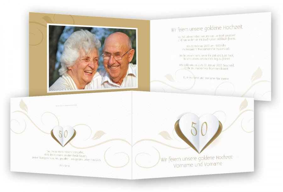 Einladungen Goldene Hochzeit | Feinekarten.com