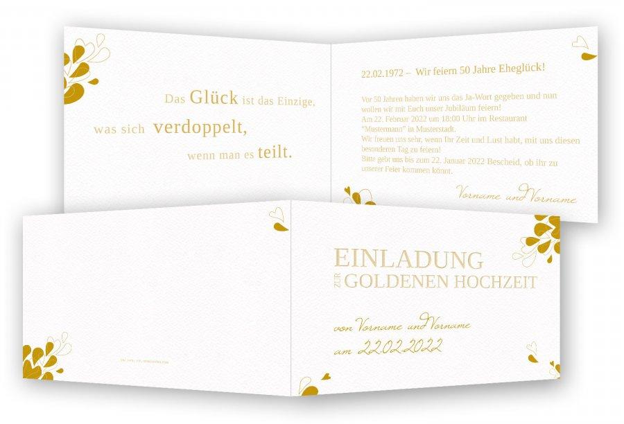 Einladungskarten Goldene Hochzeit Vorlage · Blütenblätter