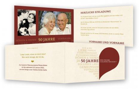 Goldene Hochzeit Einladungskarte. Herz Aus Schrift