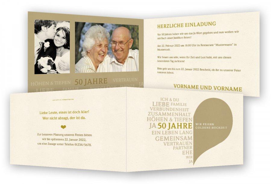 Goldene Hochzeit Einladungskarte Feinekartencom