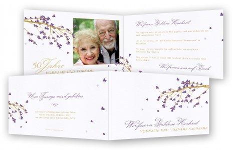 Goldene Hochzeit Einladung Vorlage · Japanischer Blütenbaum