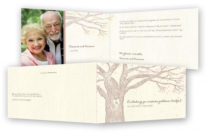 Goldene Hochzeit Einladungskarten Vorlage