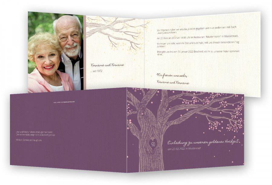 Goldene Hochzeit Einladungskarten Vorlage · Eiche