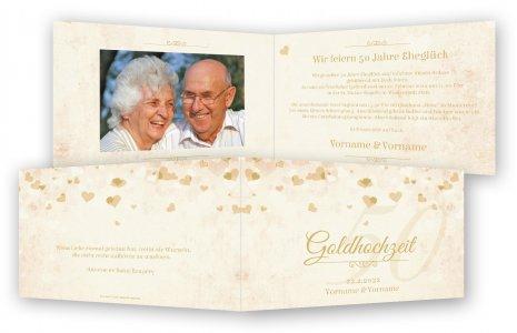 Perfekt Unsere Einladungen Zur Goldenen Hochzeit Werden Sie Begeistern. Vorlage  Goldhochzeit Einladungen. Herzchen Druck