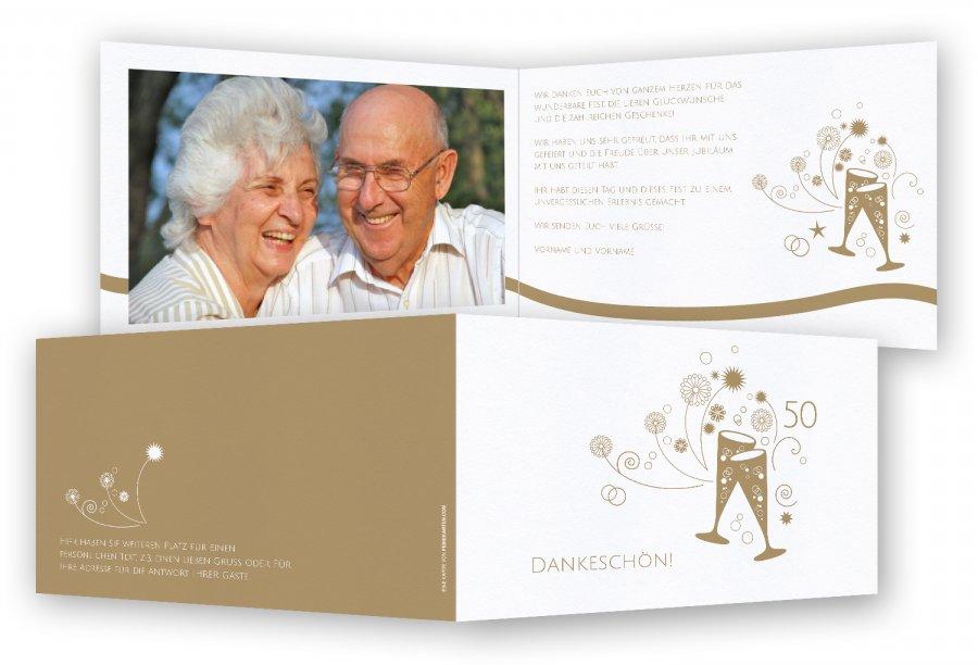 Dankeskarte Goldene Hochzeit | Feinekarten.com