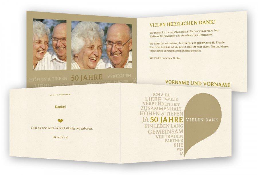 Goldene Hochzeit Einladungen Danksagungen Feinekartencom